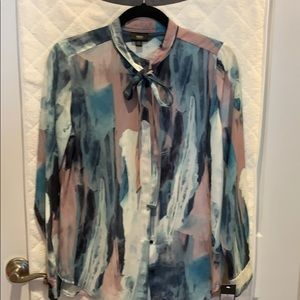 Multi-colored marble patterned blouse